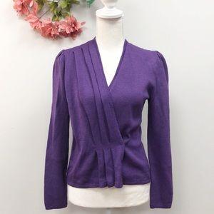 St. JOHN. Vintage Purple Wrap Knit Top M
